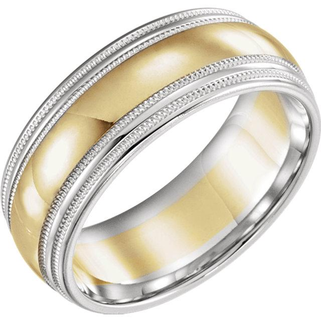 Men's Wedding Band, Two Tone Milgrain 8mm-Bel Viaggio Designs