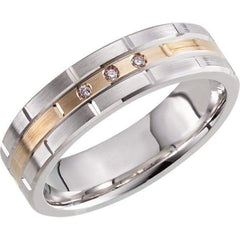 Men's Wedding Band White and Yellow Gold-BVD
