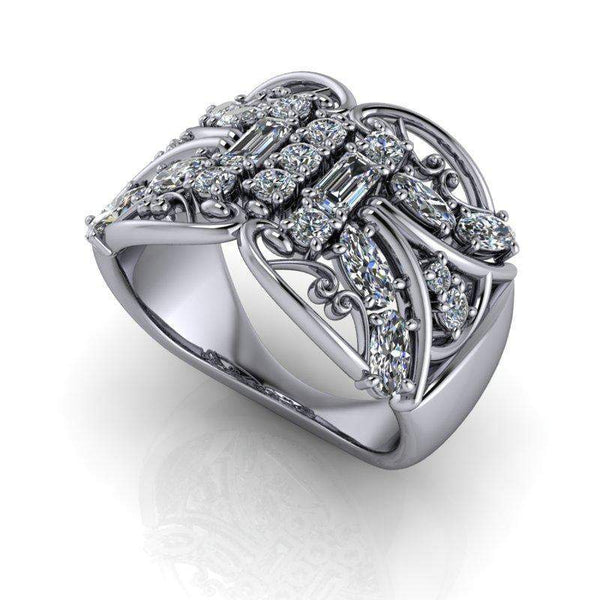 Moissanite Anniversary Ring, 1.50 CTW Stacy K Opulence Collection-Bel Viaggio Designs