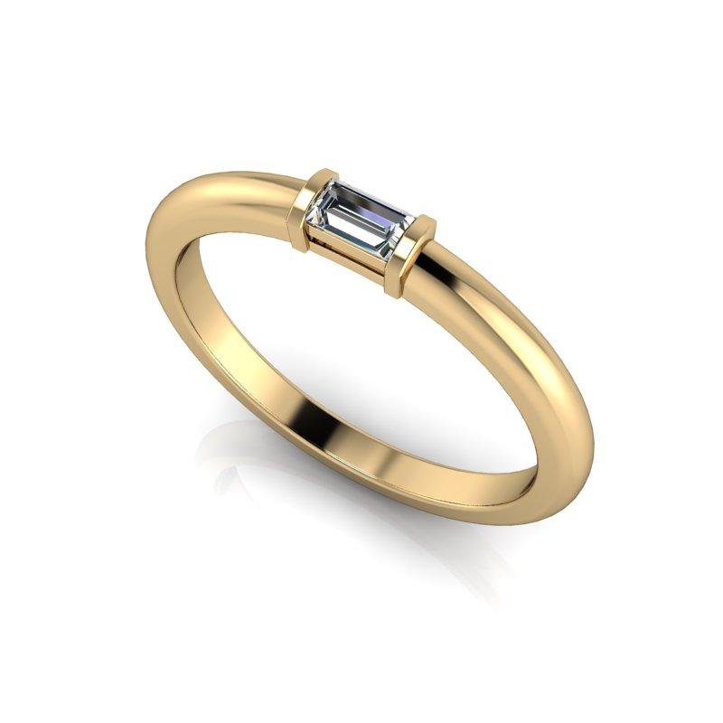 Emerald Cut Moissanite Wedding Band Stacking Ring .10 CTW-Bel Viaggio Designs