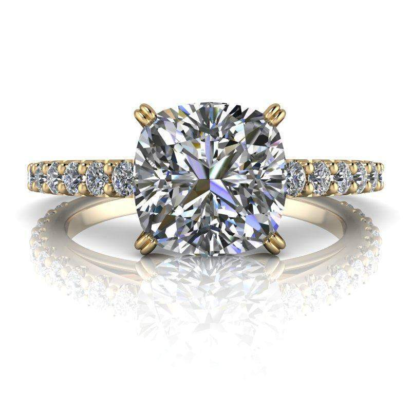 Moissanite Cathedral Engagement Ring Cushion Cut Engagement Ring 2.07 ctw-Bel Viaggio Designs