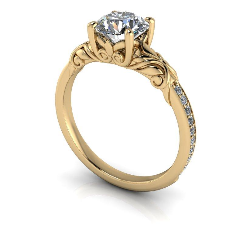 Moissanite Engagement Ring Vintage Style 1.15 ctw-Bel Viaggio Designs
