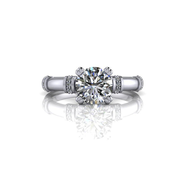 Moissanite Engagement Ring Colorless Moissanite As Shown 1.10 ctw-Bel Viaggio Designs