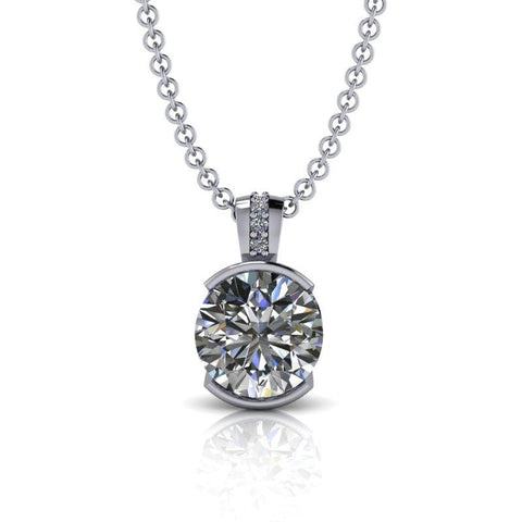 Moissanite Necklace, Pendant Necklace 14 kt gold 1.52 ctw-Bel Viaggio Designs