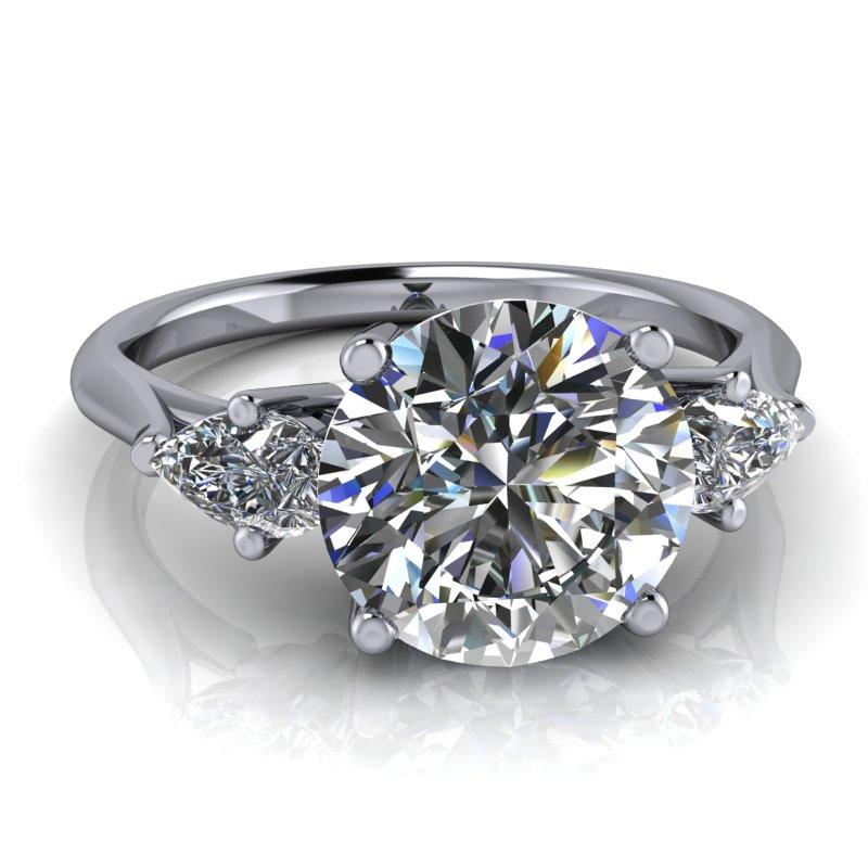 Moissanite Three Stone Engagement Ring 2.51 ctw-Bel Viaggio Designs