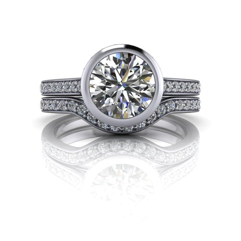 Old European Moissanite Engagement Ring, Bezel Set/Bridal Set 2.15 ctw-Bel Viaggio Designs