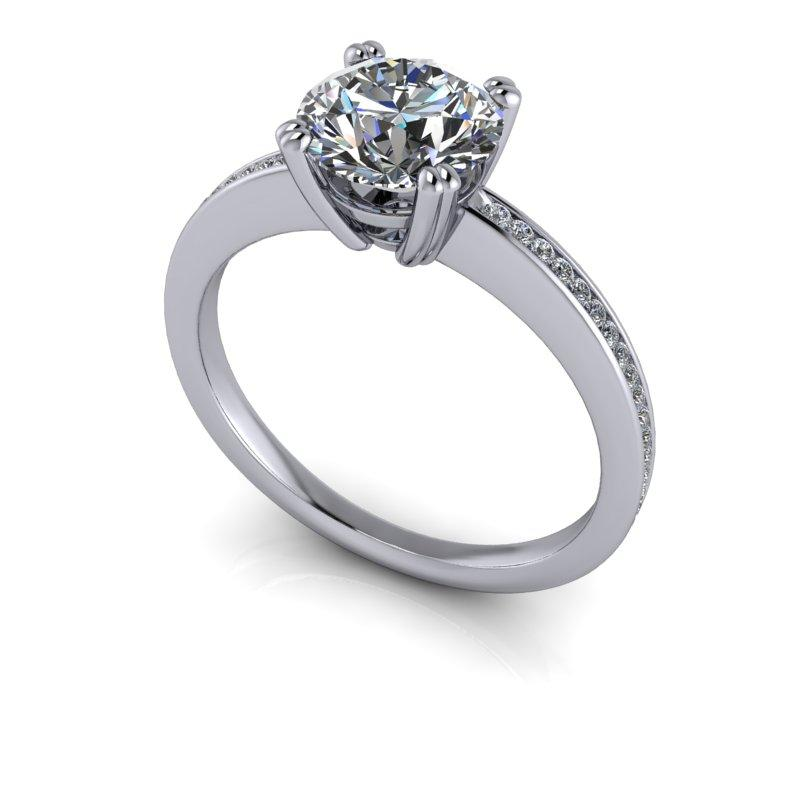Old European Moissanite Engagement Ring, Channel Set 1.54 ctw-Bel Viaggio Designs