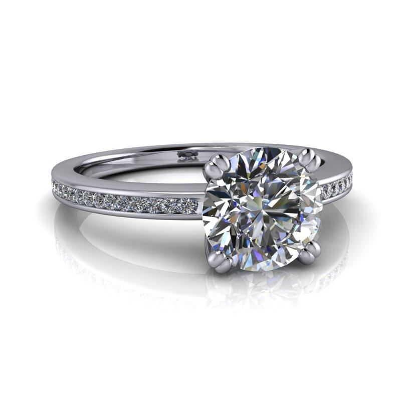 Old European Moissanite Engagement Ring, Channel Set Bridal Set 1.74 ctw-Bel Viaggio Designs