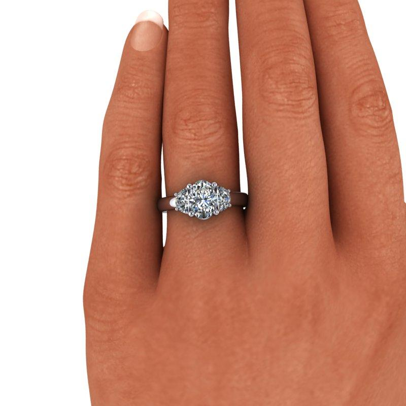 Oval and Half Moon Moissanite Engagement Ring 1.96 ctw-Bel Viaggio Designs