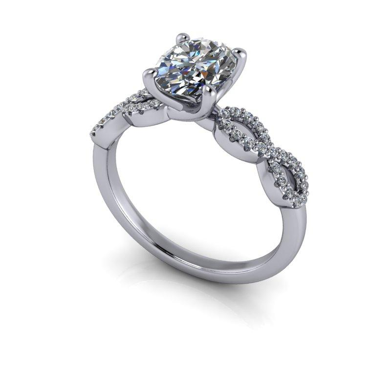 Oval Charles & Colvard Moissanite Engagement Ring 1.64 ctw-Bel Viaggio Designs