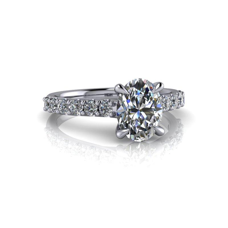 Oval Charles & Colvard Moissanite Engagement Ring 1.86 ctw-Bel Viaggio Designs