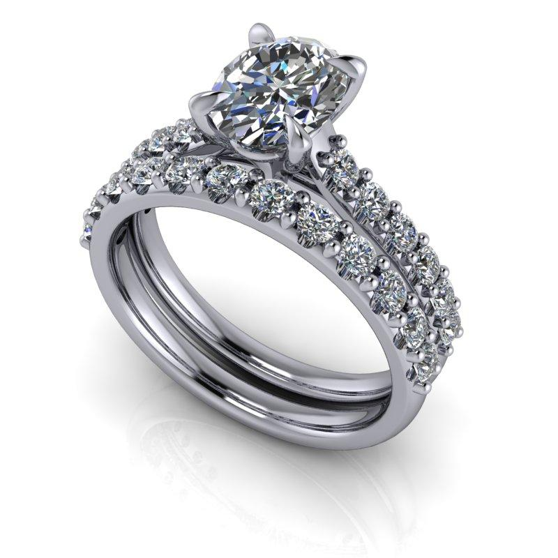 Oval Charles & Colvard Moissanite Engagement Ring/Bridal Set 2.26 ctw-Bel Viaggio Designs