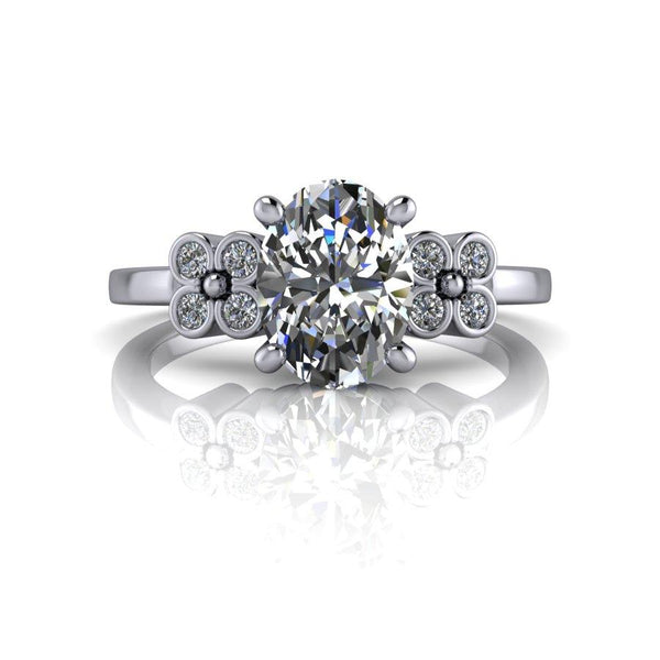Oval DEF Color Moissanite Engagement Ring 1.61 CTW-Bel Viaggio Designs