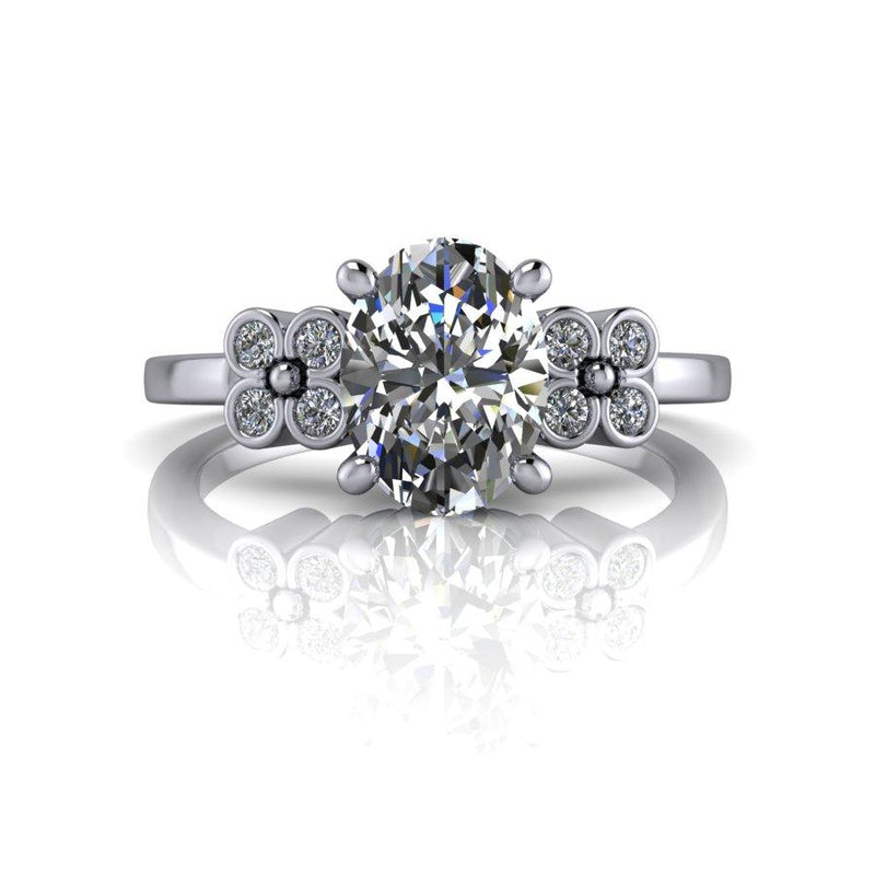 Oval Colorless Moissanite Engagement Ring 1.61 CTW-Bel Viaggio Designs