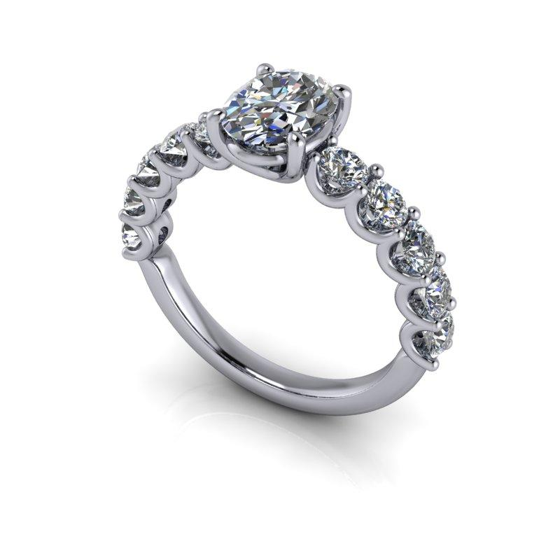 Oval Forever One Moissanite Anniversary Ring, U-Prongs 2.50 ctw-Bel Viaggio Designs