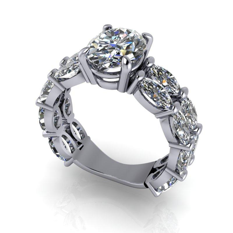 Oval Moissanite Engagement Ring 6.26 ctw-Bel Viaggio Designs