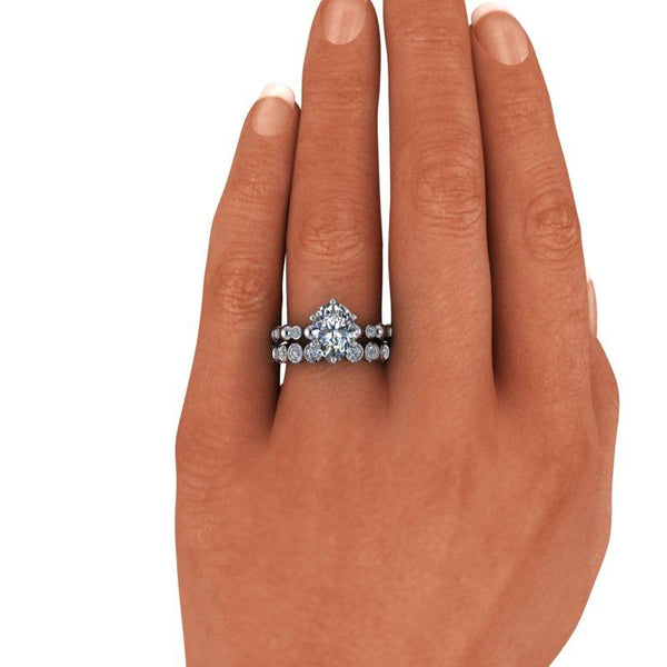 Oval Moissanite Engagement Ring and Wedding Band, Insieme Bridal Stackables®3.12 ctw-BVD