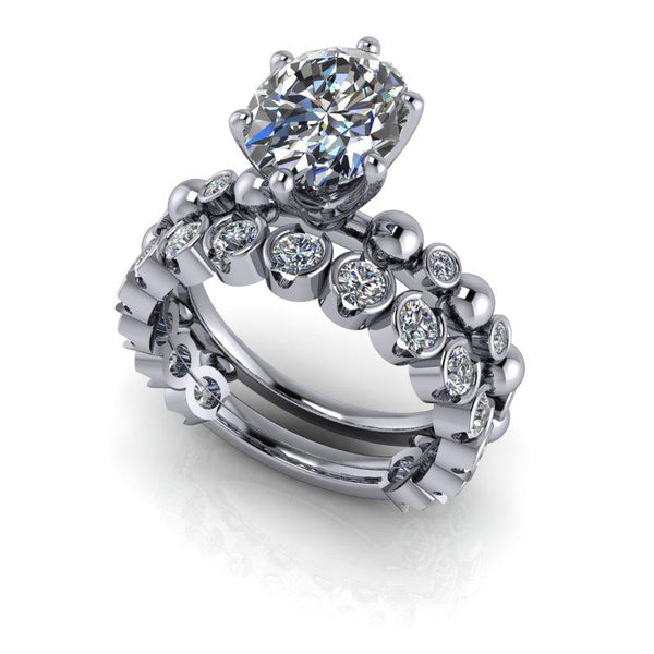 Oval Moissanite Engagement Ring and Wedding Band, Insieme Bridal Stackables®3.12 ctw-Bel Viaggio Designs