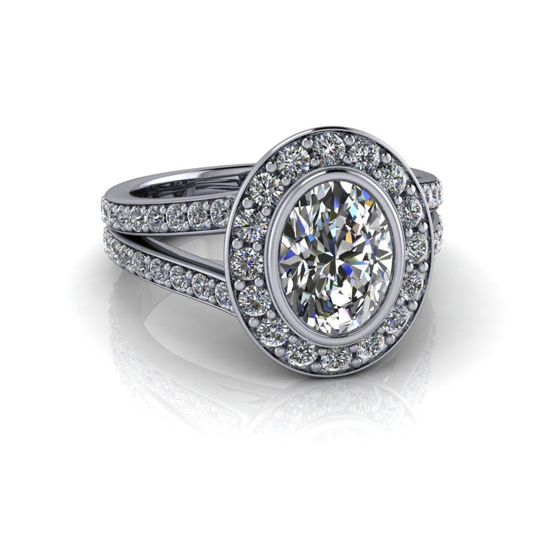 Oval Moissanite Engagement Ring Split Shank Halo Ring 2.23 ctw-Bel Viaggio Designs