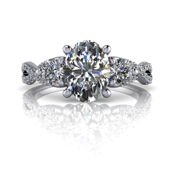 Oval Moissanite Engagement Ring Three Stone Ring 1.94 ctw-Bel Viaggio Designs