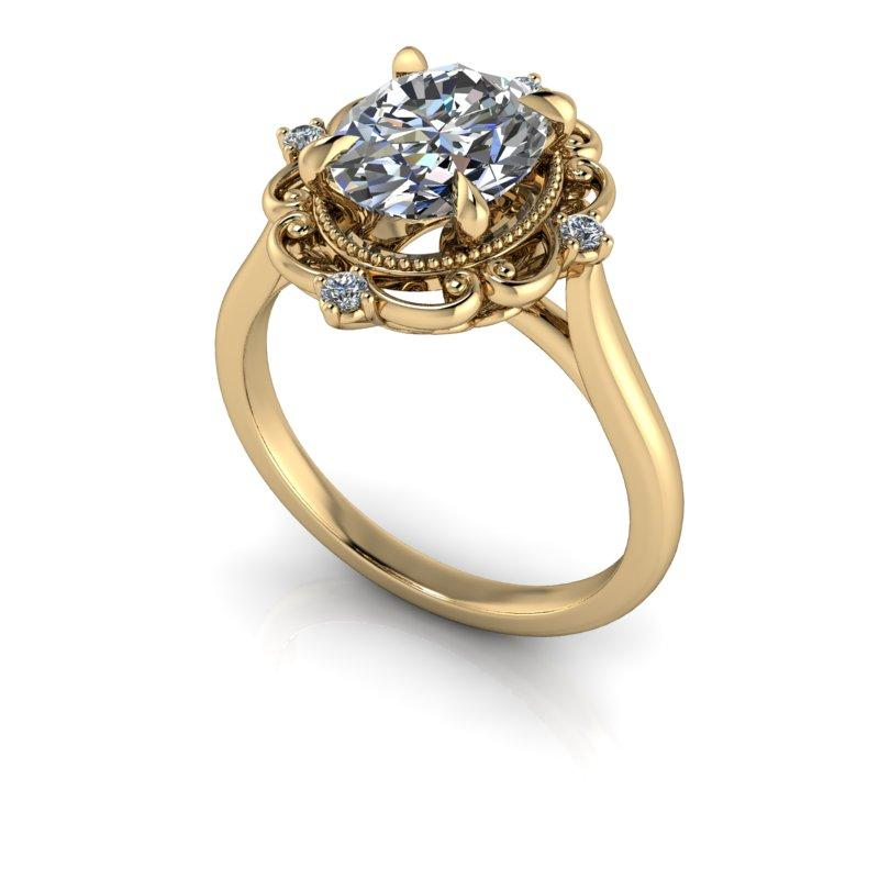 Oval Moissanite Engagement Ring, Vintage Style 2.16 ctw-Bel Viaggio Designs