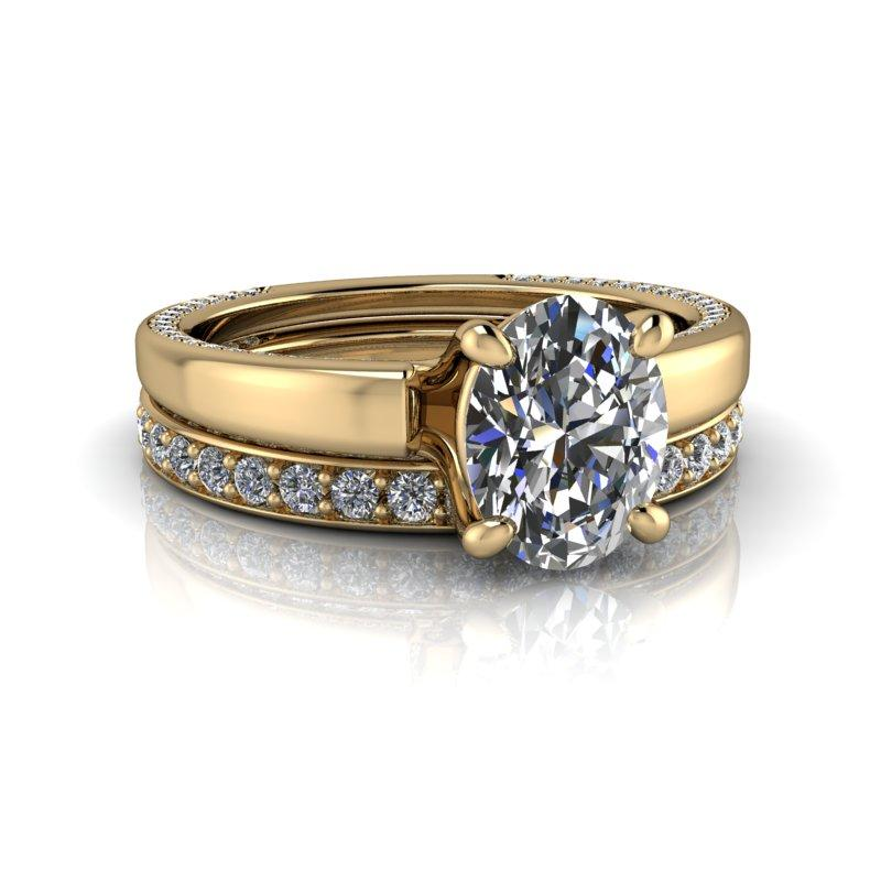 Oval Moissanite Engagement Ring/Bridal Set 1.98 ctw-Bel Viaggio Designs