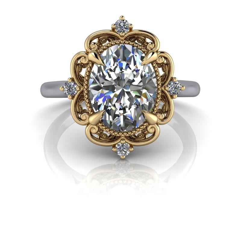 Oval Moissanite Engagement Ring/Bridal Set Vintage Style 2.22 ctw-Bel Viaggio Designs