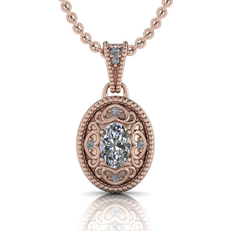 Oval Moissanite Necklace 14 kt gold .54 ctw-Bel Viaggio Designs