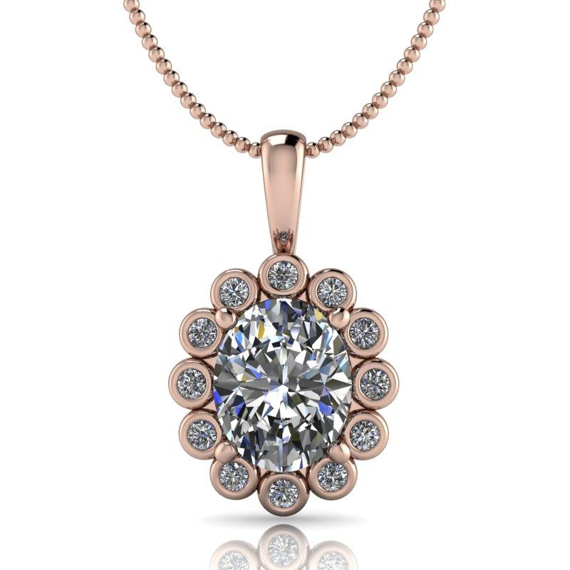Oval Moissanite Necklace, Pendant Necklace 14 kt gold 3.22 ctw-Bel Viaggio Designs