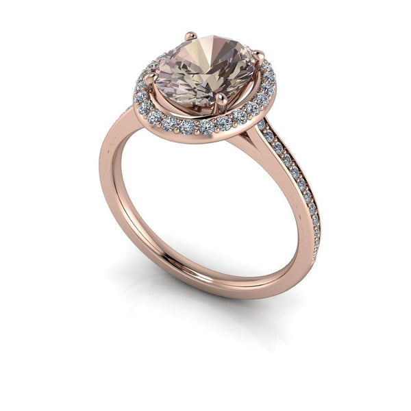 Oval Morganite Engagement Ring Diamond Halo Engagement Ring 1.85 CTW-Bel Viaggio Designs