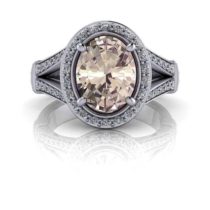 Oval Morganite Engagement Ring Halo Engagement Ring 2.09 CTW-Bel Viaggio Designs