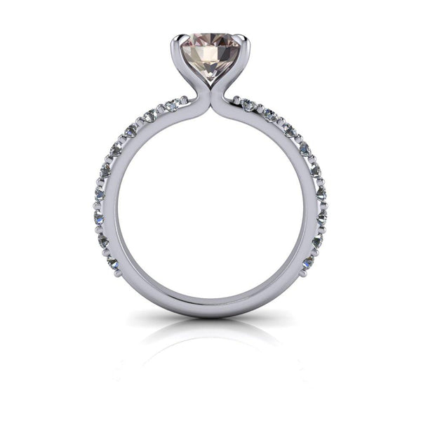 Oval Morganite Engagement Ring Halo Engagement Ring 2.15 CTW-Bel Viaggio Designs