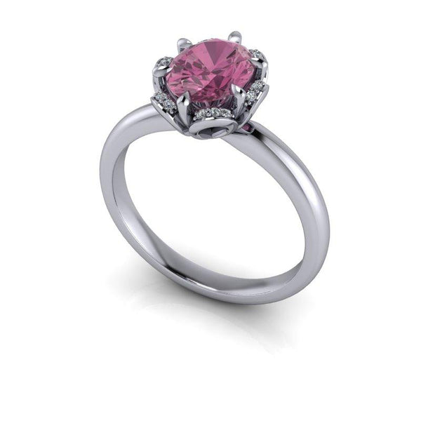 Oval Pink Sapphire Halo Engagement Ring 1.78 ctw-Bel Viaggio Designs