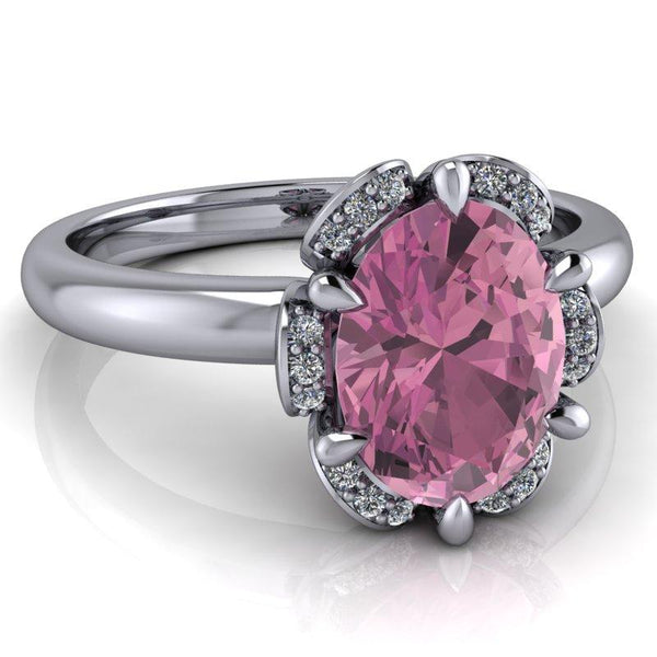 Engagement Ring For Sale Grande Prairie: Oval Pink Sapphire Halo Engagement Ring 1.78 Ctw
