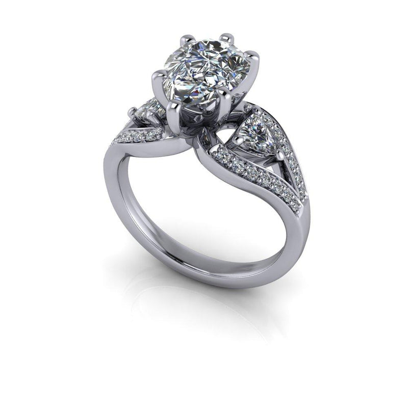 Pear Forever One Moissanite Engagement Ring Split Shank 2.68 ctw-Bel Viaggio Designs