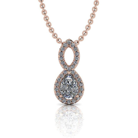 Pear Moissanite Necklace 14 kt gold .95 ctw-Bel Viaggio Designs