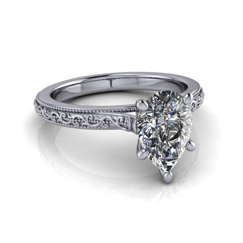 Pear Shape Moissanite Engagement Ring/Bridal Set 1.50 ctw-Bel Viaggio Designs