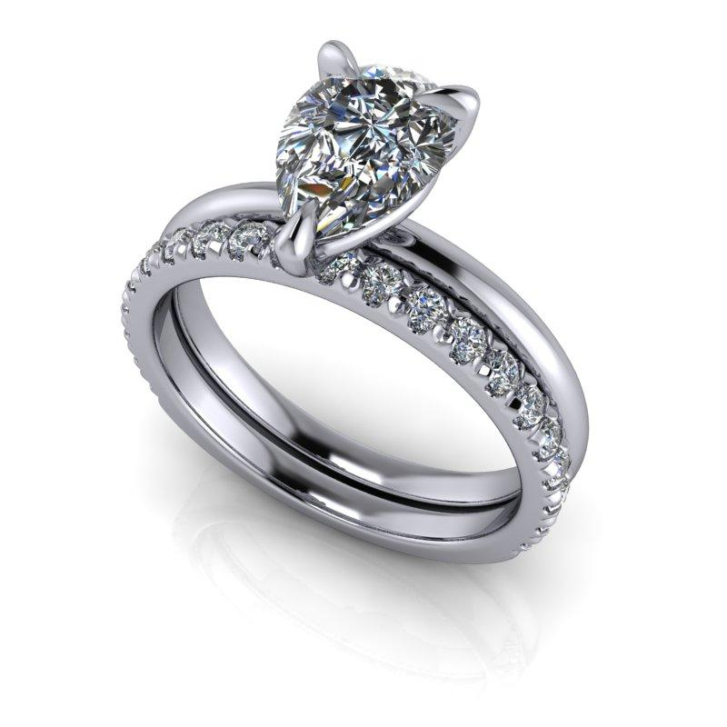 Pear Shape Moissanite Engagement Ring/Bridal Set 1.90 ctw-Bel Viaggio Designs