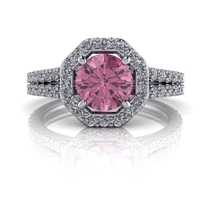 Pink Sapphire Halo Engagement Ring 1.75 ctw-Bel Viaggio Designs