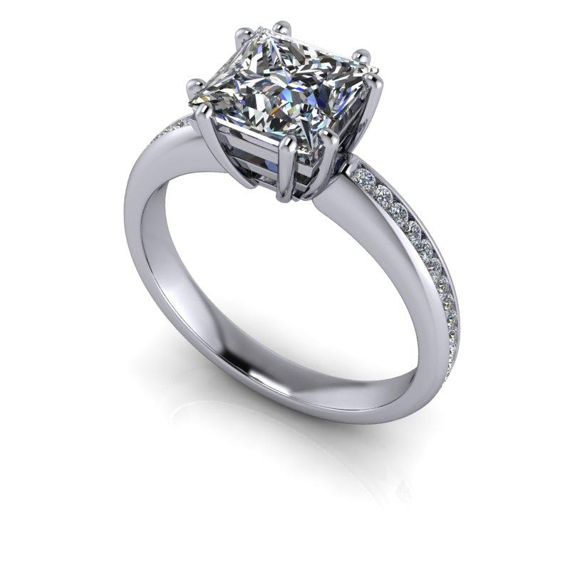 Princess Cut Moissanite Engagement Ring 8-Prong, Bridal Set 2.15 ctw-Bel Viaggio Designs