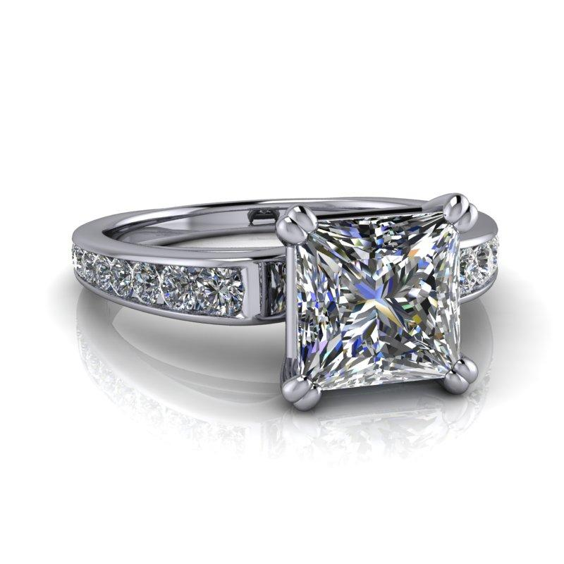 Princess Cut Moissanite Engagement Ring, Bridal Set 2.65 ctw-Bel Viaggio Designs
