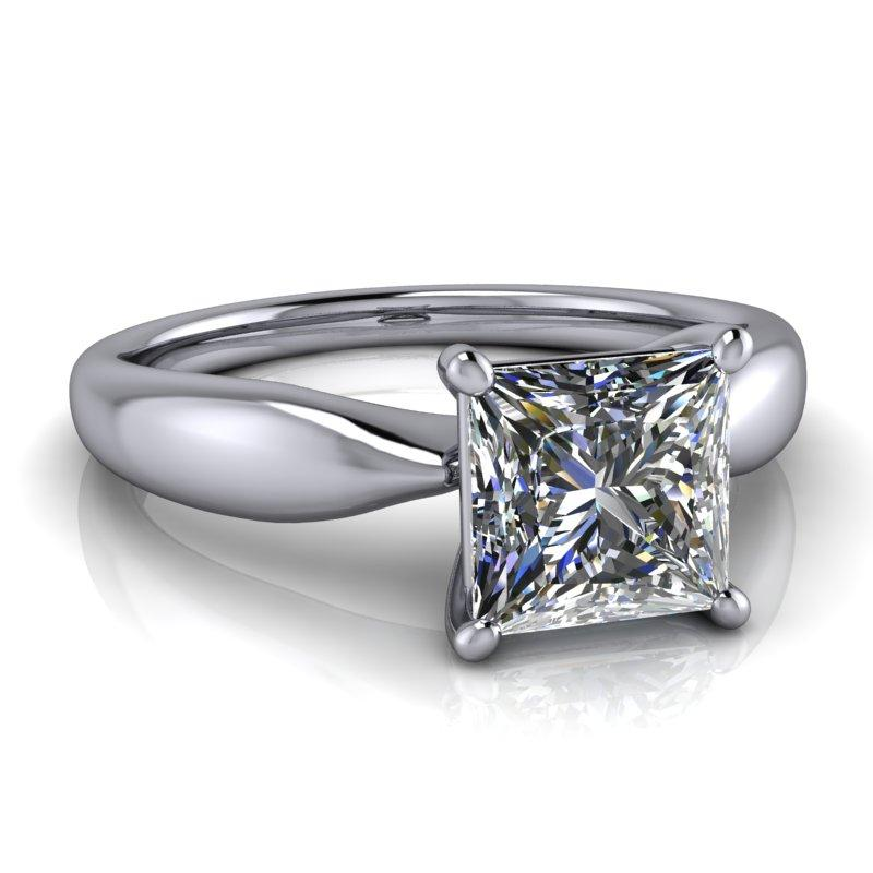 Princess Cut Moissanite Ring, 1.30 ctw, Choose Stone Size-Bel Viaggio Designs