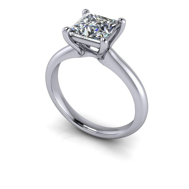 Princess Cut Moissanite Solitaire Engagement Ring 1.70 ctw-Bel Viaggio Designs