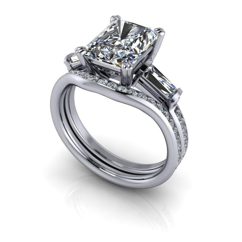 Radiant Cut Forever One Moissanite Engagement Ring/Bridal Set 3.52 ctw-Bel Viaggio Designs
