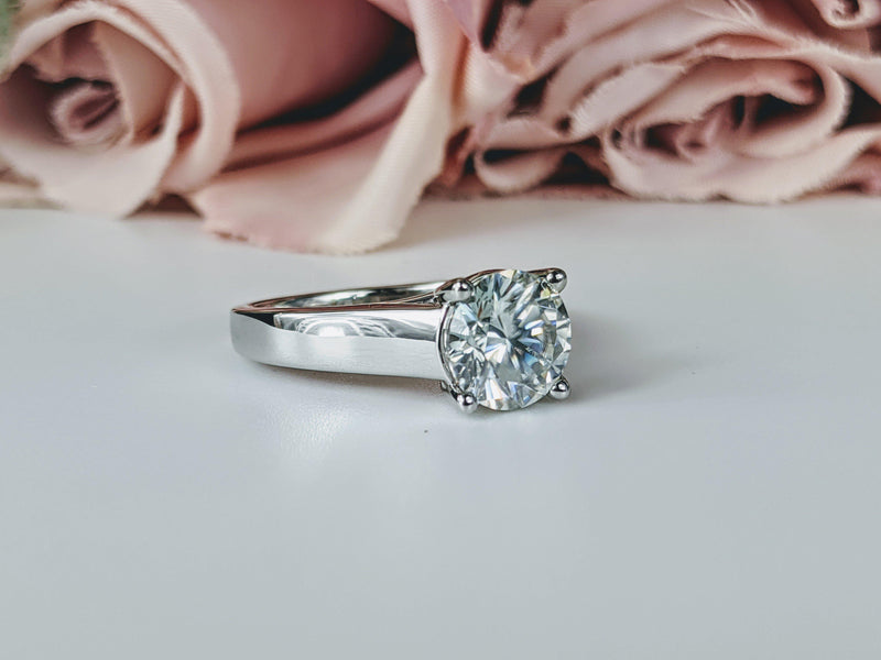 Ready to Ship! Moissanite Engagement Ring Cathedral Ring Size 5.75-Bel Viaggio Designs