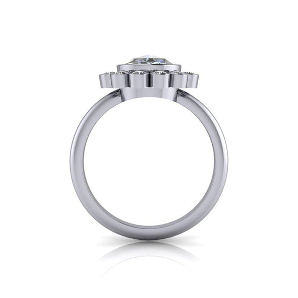 Rose Cut Forever One Moissanite Ring, Halo Bezel Set Ring 1.35 ctw-Bel Viaggio Designs
