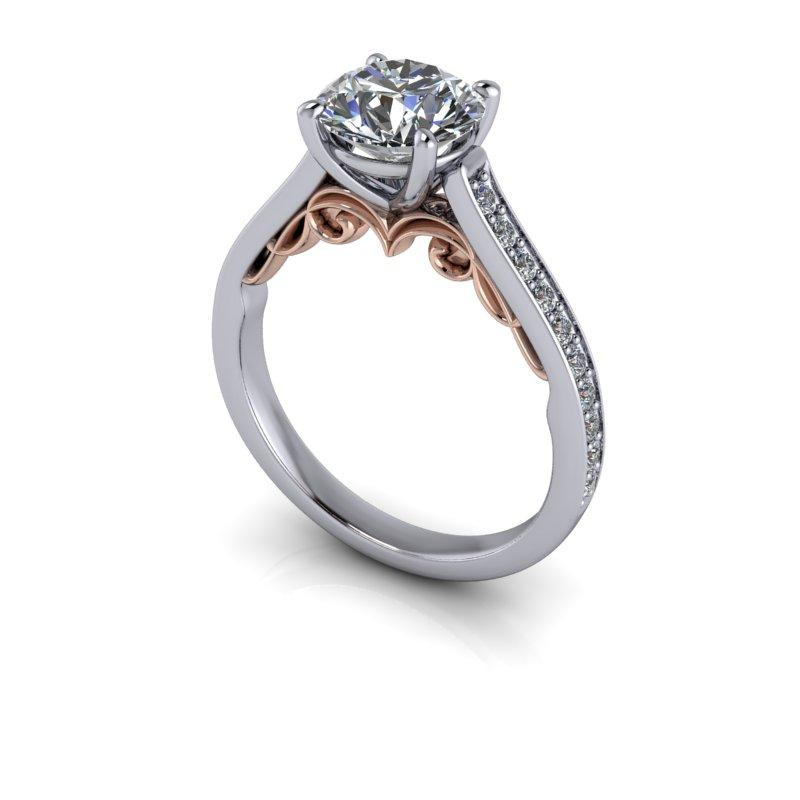 Round Forever One Moissanite Engagement Ring, Antique Inspired 1.75 ctw-Bel Viaggio Designs