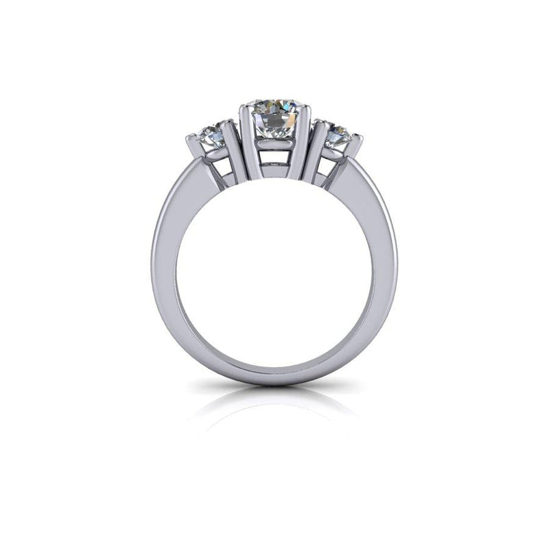 Round Forever One Moissanite Three Stone Ring 1.50 ctw-Bel Viaggio Designs