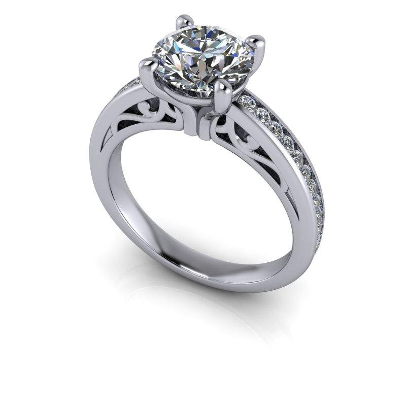 Round Hearts & Arrows Forever One Moissanite Engagement Ring 1.93 ctw-Bel Viaggio Designs