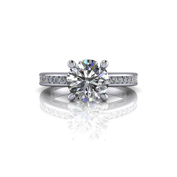 Round Hearts & Arrows Forever One Moissanite Engagement Ring/Bridal Set 2.25 ctw-Bel Viaggio Designs